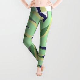 Geometric vane decor. abstract. colorful. blue. green. white Leggings