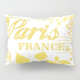 Paris France Yellow Vintage Print Pillow Sham