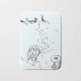 Two Tailed Duck and Jellyfish Pale Blue Bath Mat