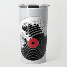 The Great Wave of Music DJ Vinyl Record Turntable Hokusai Travel Mug