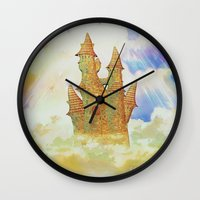 castle in the sky Wall Clocks featuring castle in the sky by Ancello