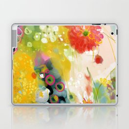abstract floral art in yellow green and rose magenta colors Laptop & iPad Skin