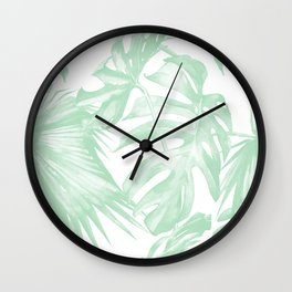 Light Green Tropical Palm Leaves Print Wall Clock