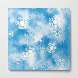 Christmas Elements Blue White Snowflakes Design Pattern Metal Print