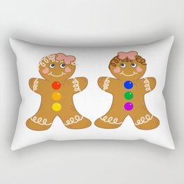 Gingerbread Couple 2 Girl Girl Rectangular Pillow