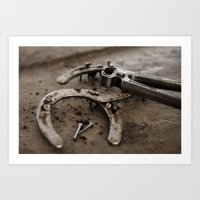 the art of horse shoes making 5 Art Print