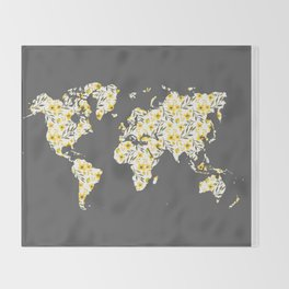 Yellow Flowers World Map Throw Blanket