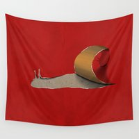 snail Wall Tapestries featuring snail by gazonula