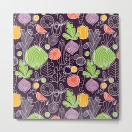 Vegetable Pattern Scandinavian Design Metal Print