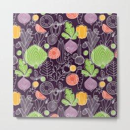 Vegetable Pattern Scandinavian Design Metal Print
