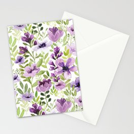 Watercolor/Ink Purple Floral Painting Stationery Cards