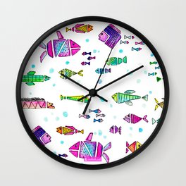 Catch all the fish! Tropical and colorful fishes swim in shoals Wall Clock