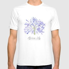 blue purple African lily watercolor painting MEDIUM White Mens Fitted Tee