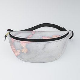 Rosegold Pink on Gray Marble Metallic Foil Style Fanny Pack