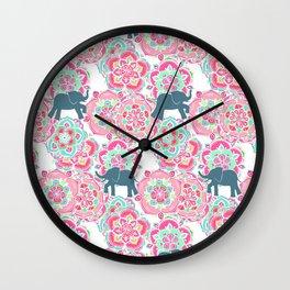 Tiny Elephants in Fields of Flowers Wall Clock