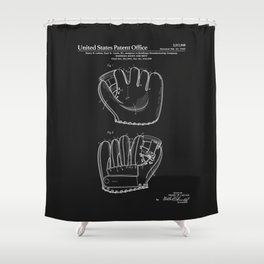 Baseball Glove Patent - Black Shower Curtain