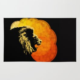 NIGHT PREDATOR : lion silhouette illustration print Rug