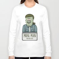 muscle Long Sleeve T-shirts featuring Muscle Man by adam marsh