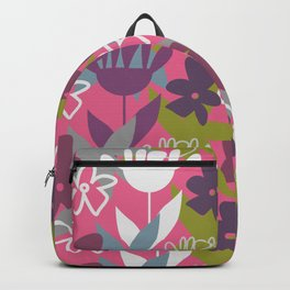 Fun-loving flowers in purple and pink Backpack