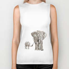 Swirly Elephant Family Biker Tank
