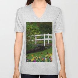 Flowered Bridge Unisex V-Neck