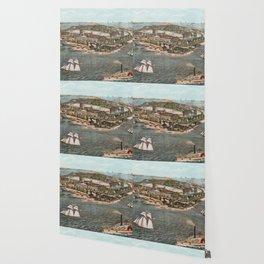 Vintage Pictorial Map of Fort Monroe Virginia Wallpaper