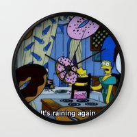 simpsons Wall Clocks featuring Simpsons - Doughnuts by Katieb1013