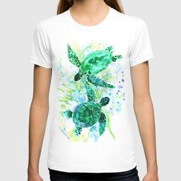 Sea Turtles Underwater Scene Turquoise Blue design, bright blue green design T-shirt