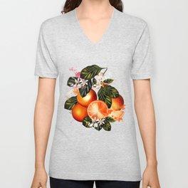 Citrus paradise. Tropical pattern with oranges Unisex V-Neck
