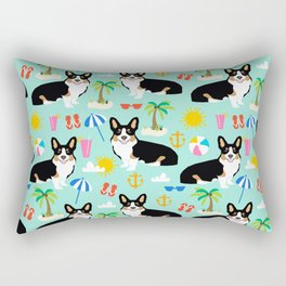 Tricolored Corgi Beach Day - cute tri corgi beach summer sun pattern Rectangular Pillow