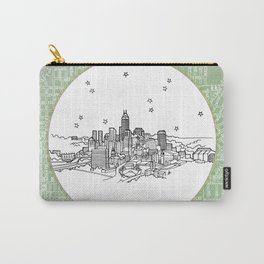 Indianapolis, Indiana City Skyline Illustration Drawing Carry-All Pouch