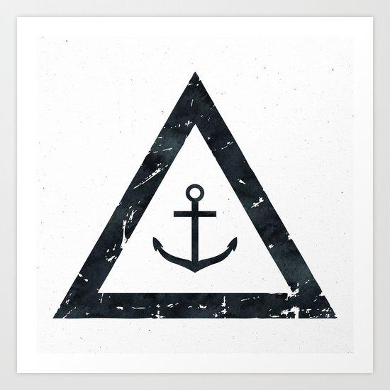 Vintage Anchor Black and White Art Print