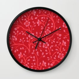 Flora - in coral tones Wall Clock