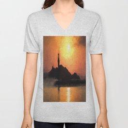 Lighthouse Sunset Impressionism Unisex V-Neck