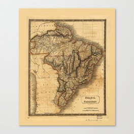 Map of Brazil and Paraguay (1828) Canvas Print
