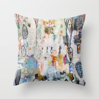 "flora bowley Throw Pillows featuring ""Solstice"" Original Painting by Flora Bowley by Flora Bowley"