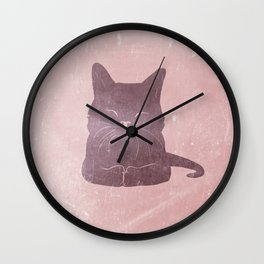 Happy purple cat illustration on pink for girls Wall Clock