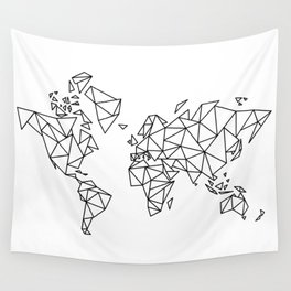 Geometric Low Poly Map of The World / Polygon geometry Wall Tapestry