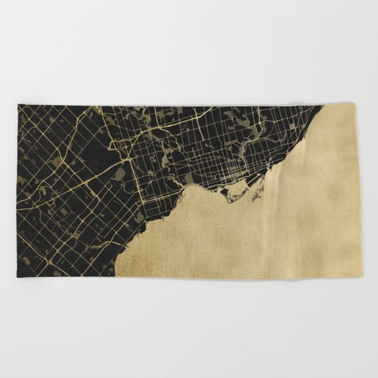 Toronto Gold and Black Street Map Beach Towel
