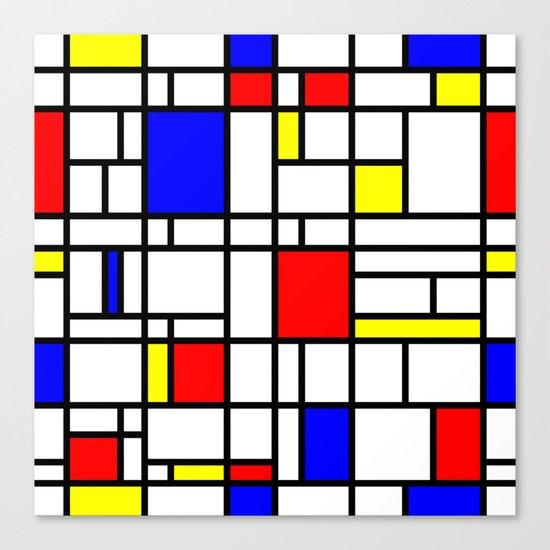 Modern Art Red Yellow Blue Grid Pattern Canvas Print