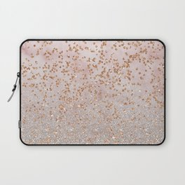 Mixed glitters on pink marble Laptop Sleeve