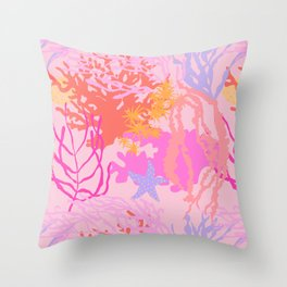 Coral Reef in Pink Throw Pillow