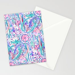 Boho Flower Burst in Pink and Teal Stationery Cards