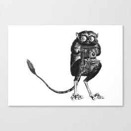 Say Cheese! | Tarsier with Vintage Camera | Black and White Canvas Print