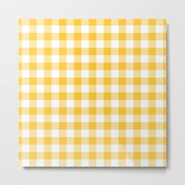 Small Yellow & White Vichy Metal Print