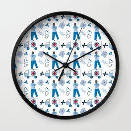 Wellness Health Medical Symbols Doctors and  Nurse Wall Clock