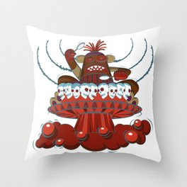 Space Drumming Sock Monkey Throw Pillow