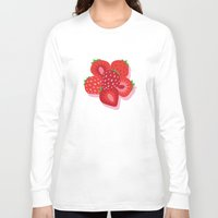 strawberry Long Sleeve T-shirts featuring Strawberry by Helene Michau