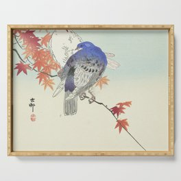 Two pigeons on autumn branch by Ohara Koson, 1900 Serving Tray