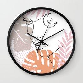 Jungle Line Girl Wall Clock